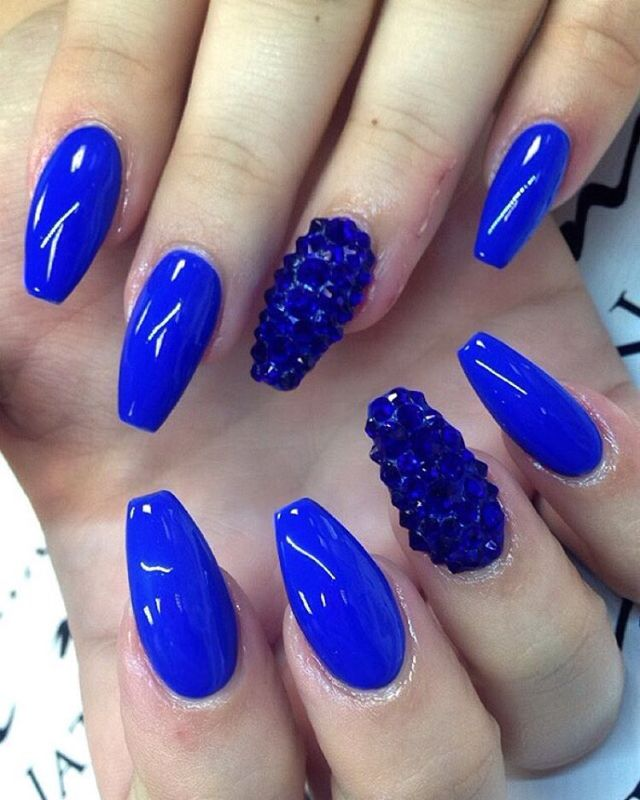 Glossy Royal Blue Nails With Accent Caviar Beads Design