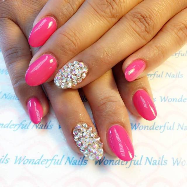 Glossy Solver And Pink Acrylic Nail Design