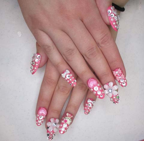 Glossy White Flower And Silver Bow 3D Nail Art