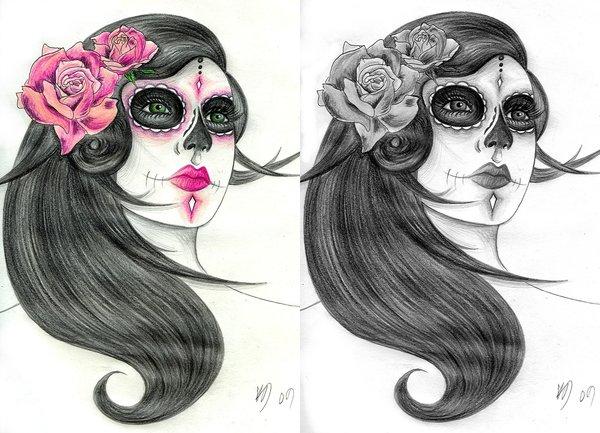 Glowing Dia De Los Muertos Tattoo For Girls