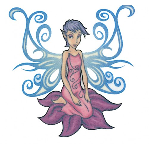 Glowing Fairy Tattoo Design For Girls