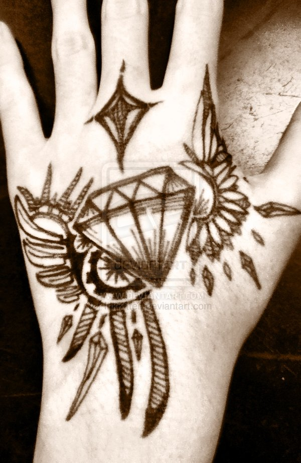 Glowing Winged Diamond Tattoo On Hand For Girls