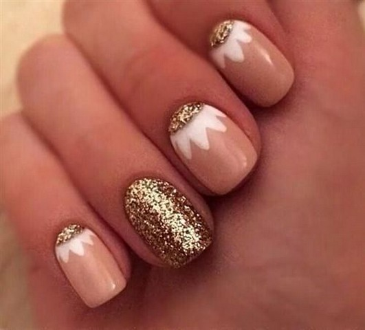 Golden Ends With Baby Pink And Flower Glitter Accent Nail Art