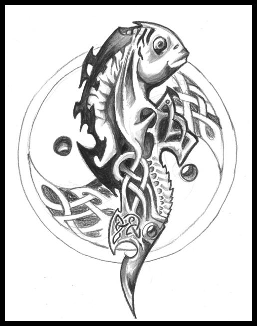 Gorgeous Celtic Fish Tattoo Image Boys & Girls