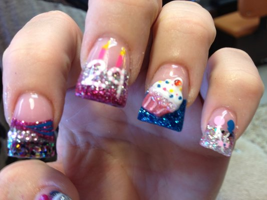 Greatest Colorful Tips And Year Age Birthday Nail Art