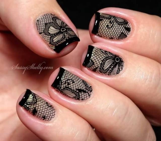 Great Black French Tip Nails With Music Symbol Design