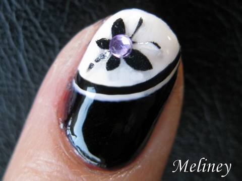 Great Black Nail Art Design With Butterfly And Crystal