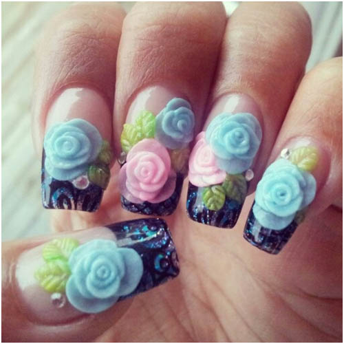 Great Blue And Pink Color Flower With Black Color 3D Rose Flower Nail Art