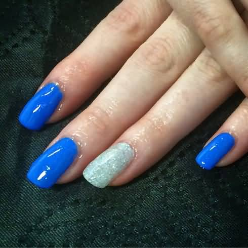 Great Blue And Silver Paint Glitter Accent Nail Art