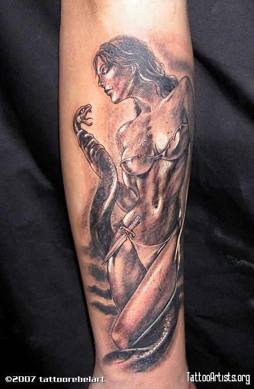 Great Fantasy Woman Tattoo On Arm For Girls