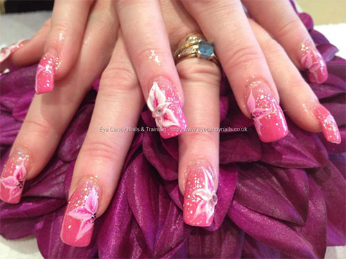 Great Flower With Leaves 3D Acrylic Nail Art