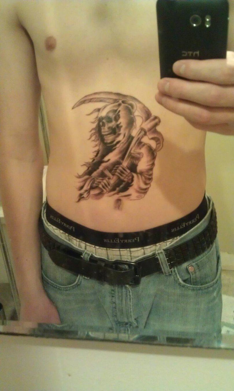 Great Grim Reaper Tattoo On Stomach For Boys