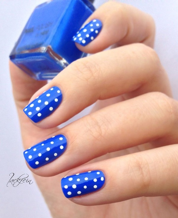 Great Polka Dot Design With Blue Nail
