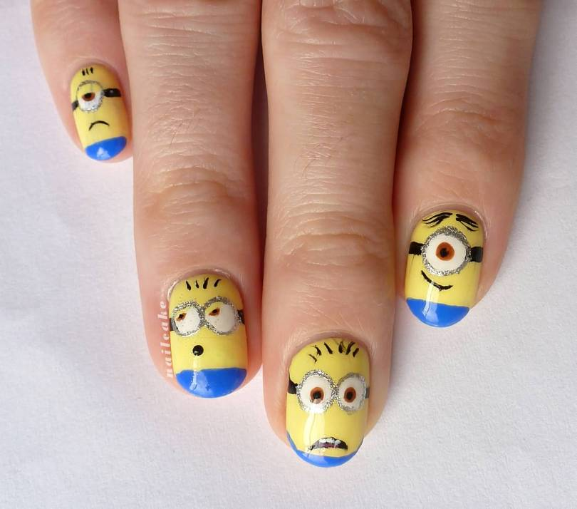 Great Minion Face Yellow And Blue Nails