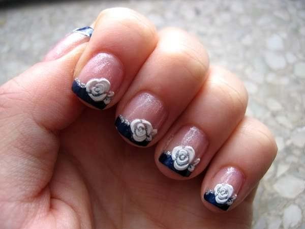 Great White Flower Acrylic Short Nail Design