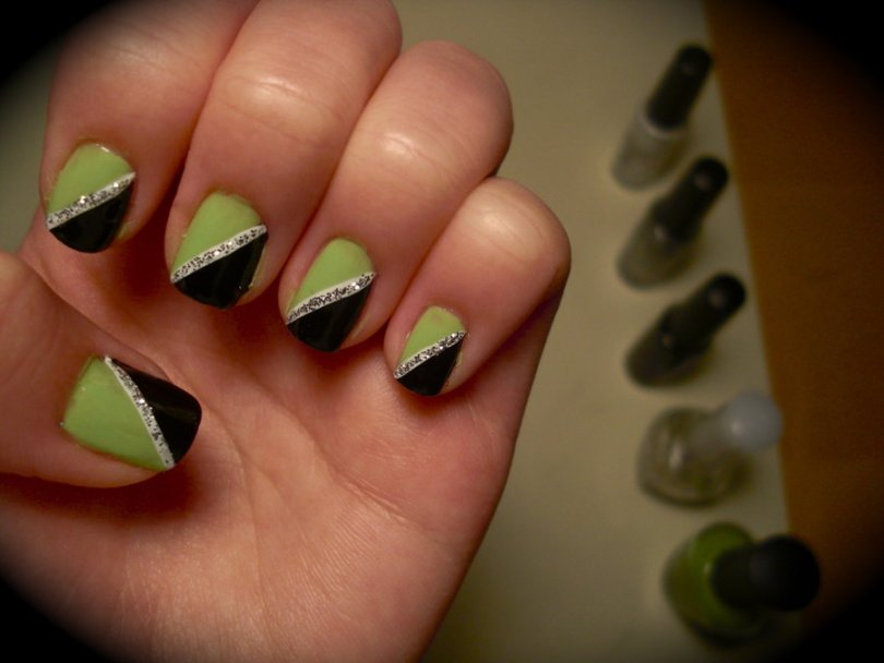 Greatest Black And Grey Nails With Green Paint