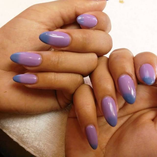 Greatest Purple And Dark Tips Almond Shaped Acrylic Nail Art