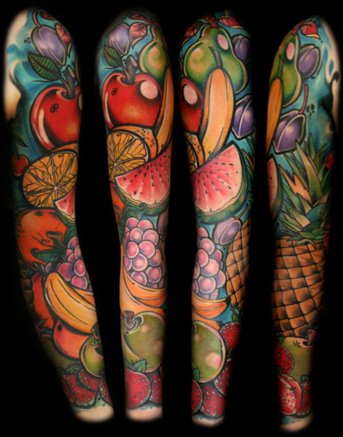 Groovy Fruit Tattoo Design On Sleeve For Girls