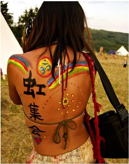 Groovy Hippie Tattoo Designs On Back For Girls