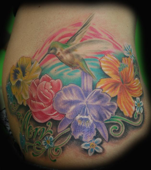 Groovy Hummingbird n Flowers Tattoo Design For Girls