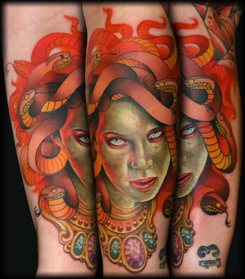 Groovy Medusa Fantasy Tattoo Design For Boys