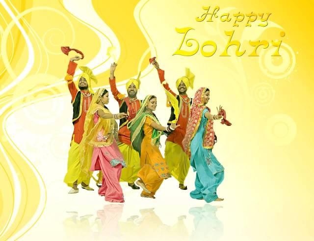 Happy Lohri Celebration Bhangra Dance Wishes Image