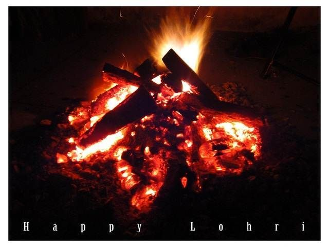 Happy Lohri Fire Celebration Image