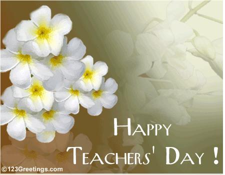 Happy World Teacher's Day Greetings Flower Image