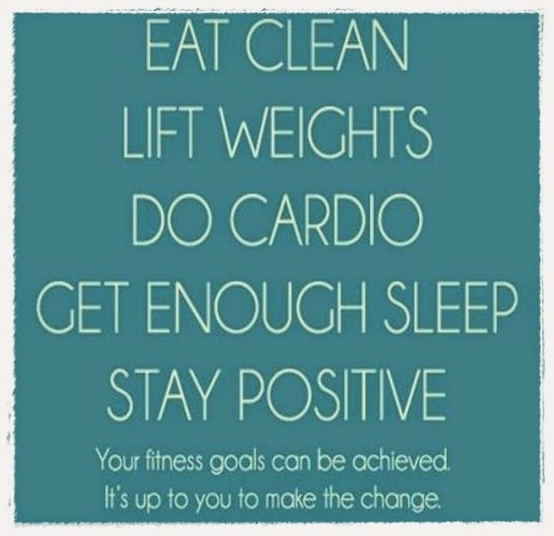 Health Quotes eat clean lift weights do cardio get enough sleep stay positive