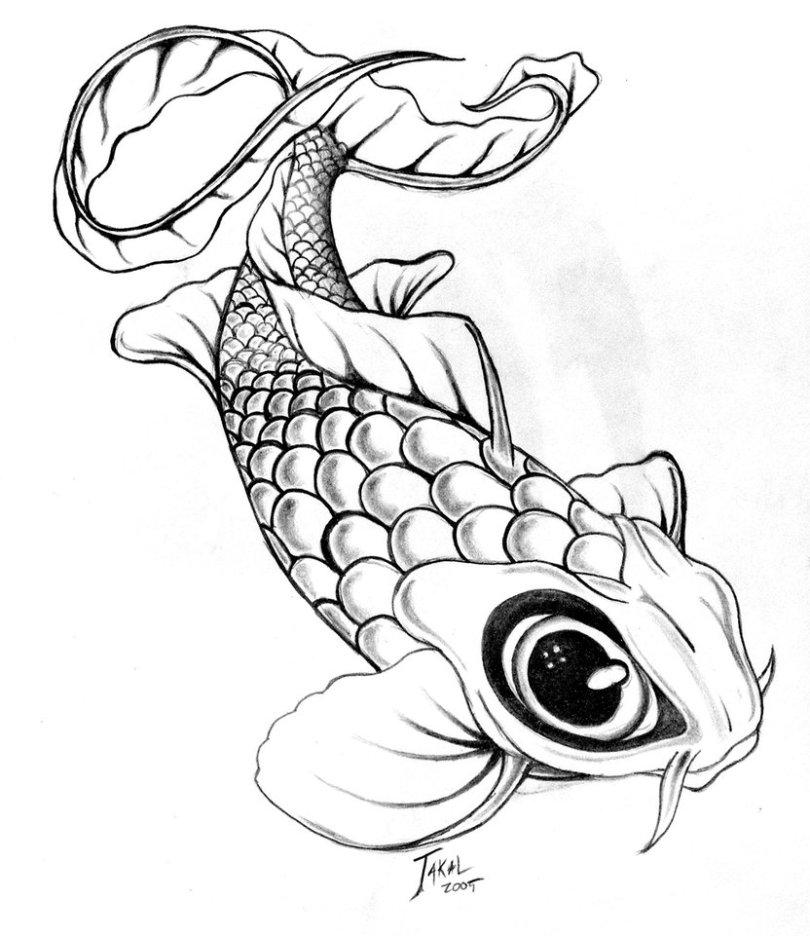 Horrible Black Eye Fish Tattoo Design For Girls