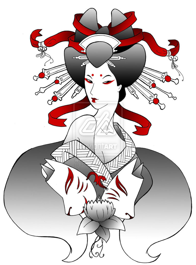 Horrible Geisha Kitsune Tattoo Design For Boys