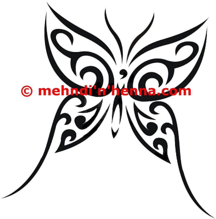 Horrible Henna Butterfly Tattoo Sample For Boys