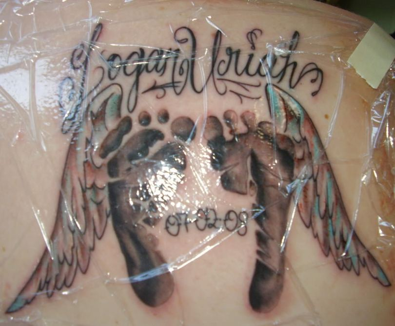 Horrible Memorial Angel Wings & Footprints Tattoo For Boys