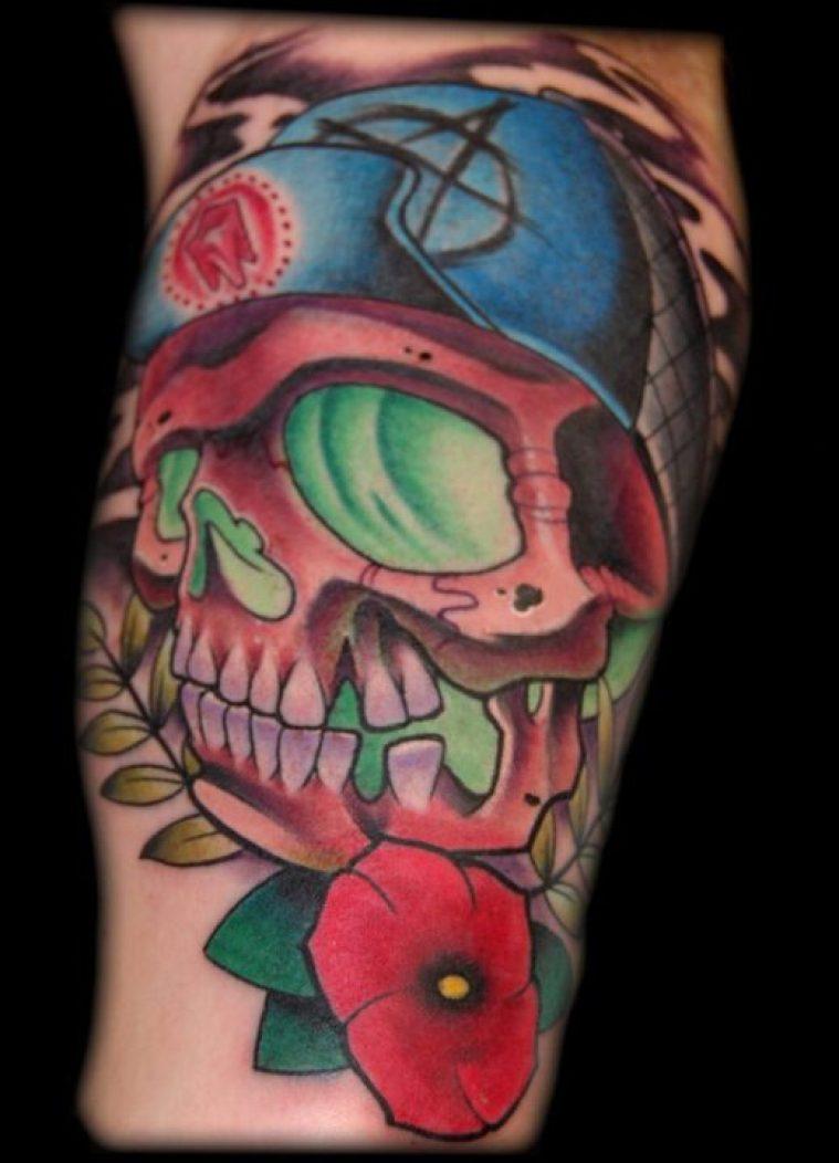 Horrible Skater Skull Horror Tattoo Design For Girls