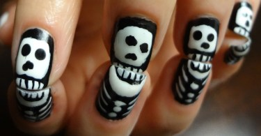 Horror Face Design Black And White Nails