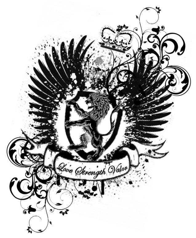 Impressive Family Crest Tattoo Stencil For Boys