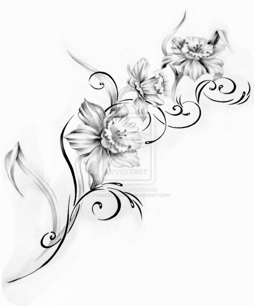 Impressive Flower Tattoo Design For Boys