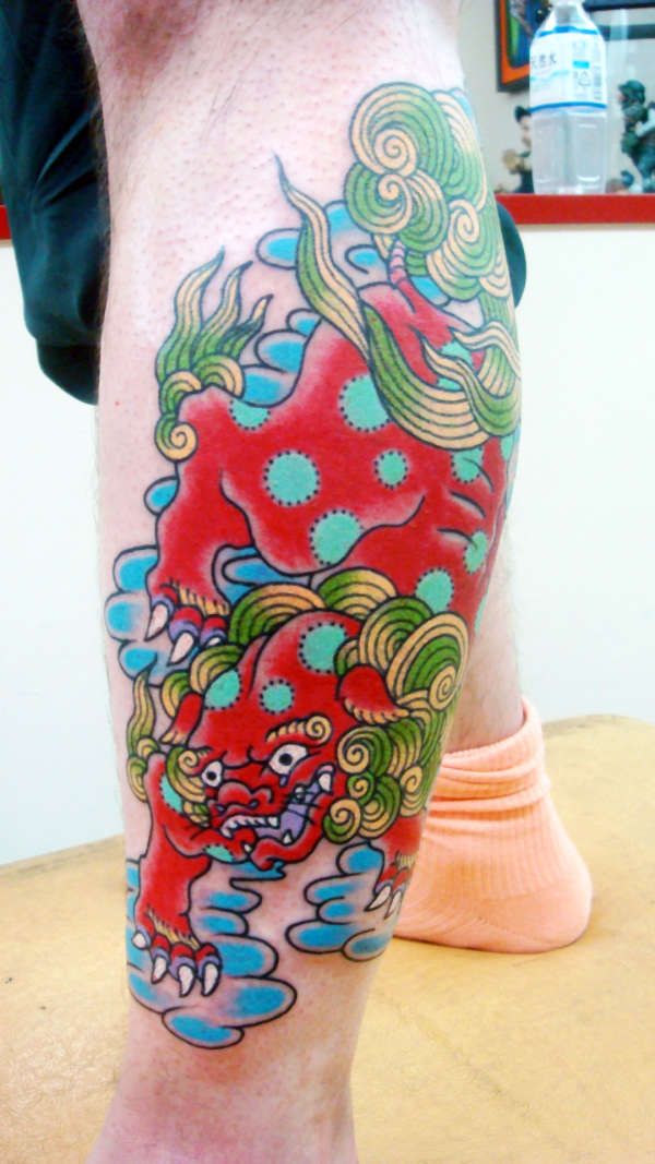 Impressive Foo Dog Or Chinese Lion Tattoo Design For Boys