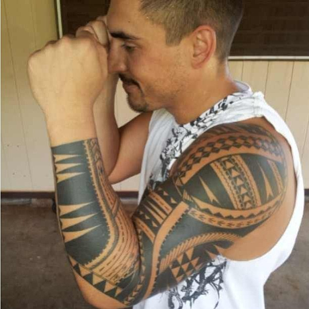 Impressive Hawaiian Sleeve Tattoo For Boys