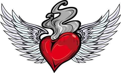 Impressive Red Heart Fire n Flame Tattoo Design For Boys