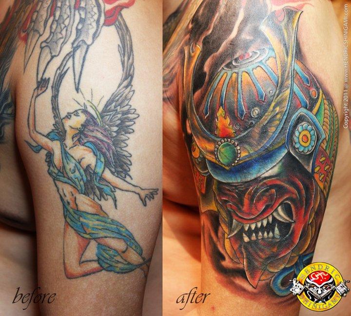 Impressive Samurai Helmet Tattoo For Boys