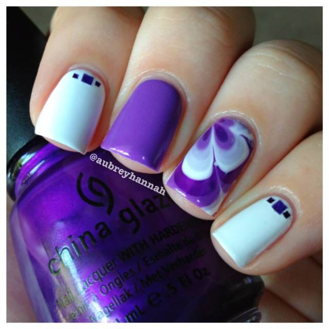 Incredible Accent Nail Art With Voilet Paint And White Flower