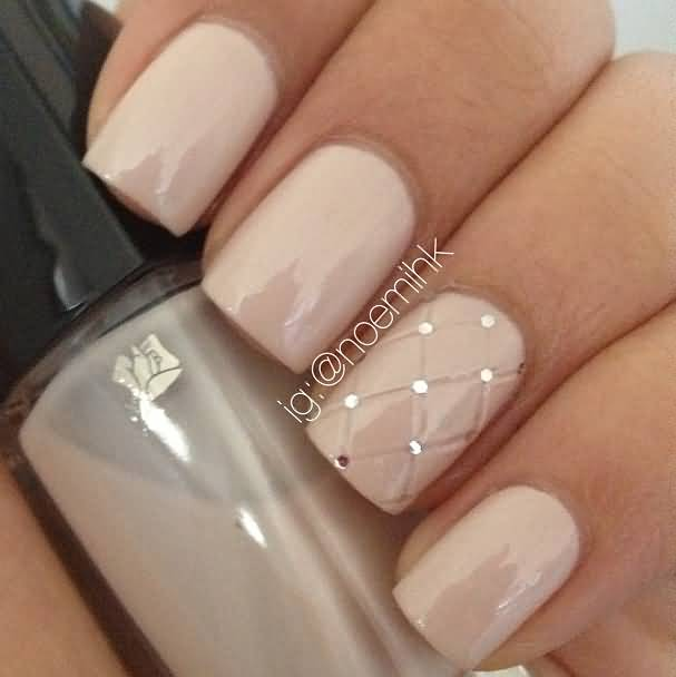 Incredible Baby Pink Diamond Design Accent Nail Art