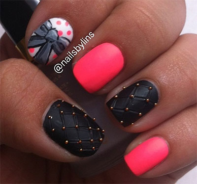Incredible Black And Red Nail Art 3D Nail Art
