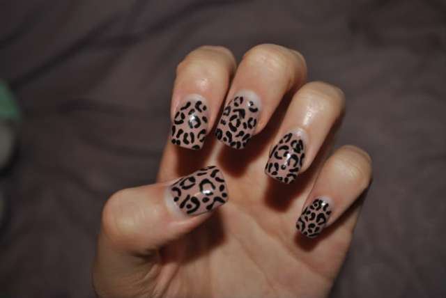 Incredible Black And Beige Nail Art With Leopard Print