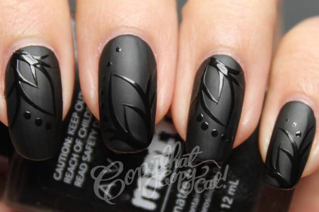 Incredible Black Matte Nails With Plant Design In 3D