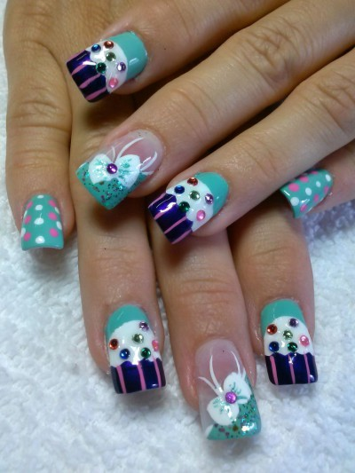 Incredible Blue Color Nail Paint With Bow Birthday Nail Art