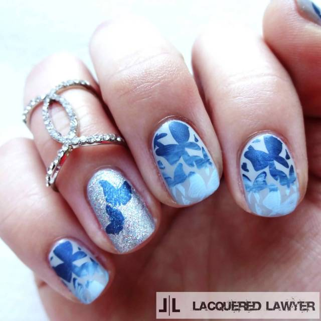 Incredible Butterfly Nail With Blue Nail Paint