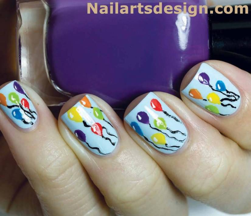 Incredible Colorful Balloons With Sky Blue Color Birthday Nails
