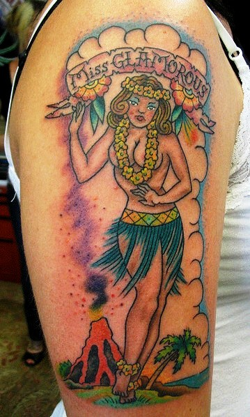 Incredible Hawaiian Girl Tattoo On Right Arm For Girls